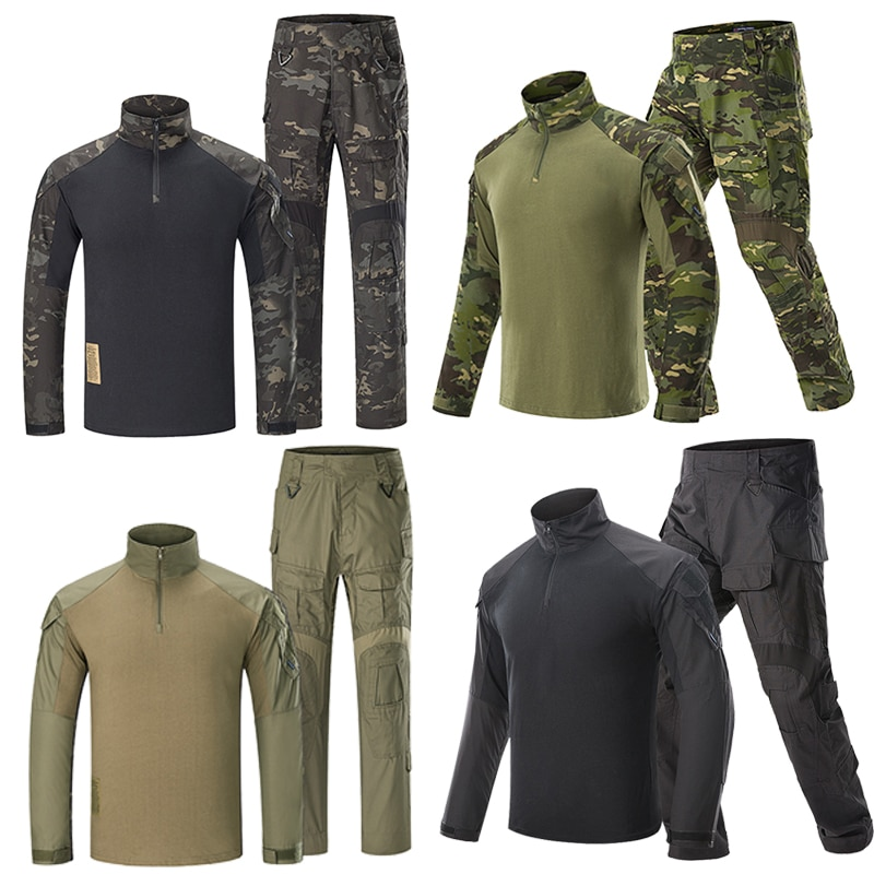 uniforme militar men tactical hunting clothing black python camouflage hunting clothes women army combat multicam shirt pants Airsoft Hunting Pants G3 Combat Shirt Pants with Pads Camoping Tactical Multicam Trousers MultiCam Forces Hunting Camouflage