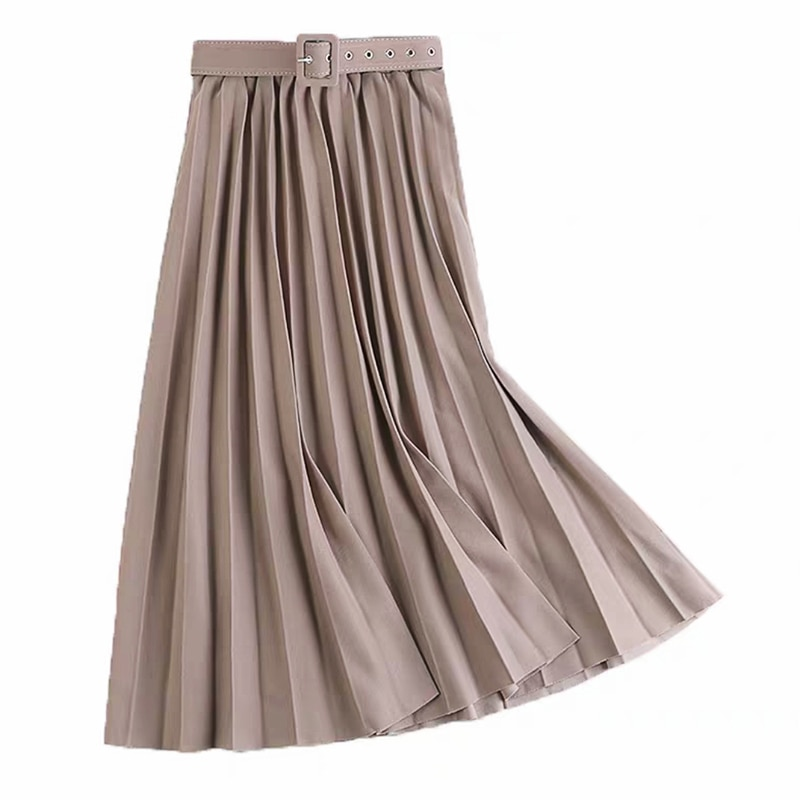 shintimes Loose Big Swing Pleated Skirt Women Skirts 2020 Summer Sashes High Waist Black Woman Elegant Clothing
