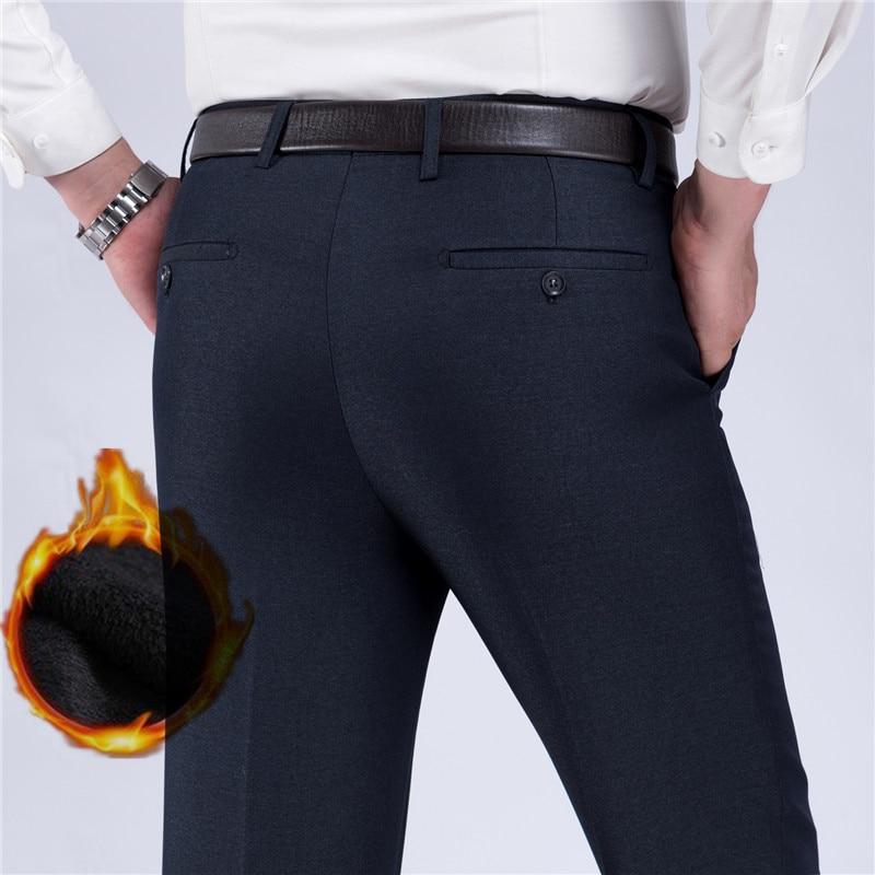ICPANS Thick Warm Winter Dress Pants Men Straight Classic Business Office Formal Suit Trousers Men Black Big Size 29-40 42 44