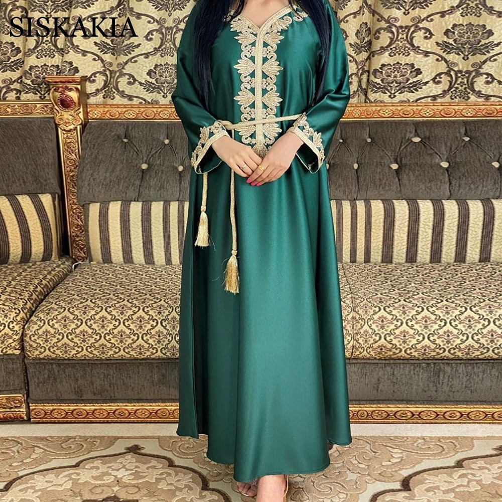 Siskakia-فستان ساتان طويل للنساء ، جلابية أنيقة مطرزة عرقية ، نمط مسلم ، عربي ، مغربي ، قفطان ، أخضر