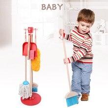 Pré-escola housework prática jogo jogo conjunto de ferramentas de limpeza de madeira brinquedo casa varrendo brinquedos para crianças