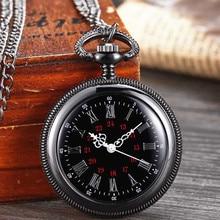 New Personalized Retro Smooth Men Black Pocket Watch Roman Dial Quartz Fob Pocket Watches Pendant wi