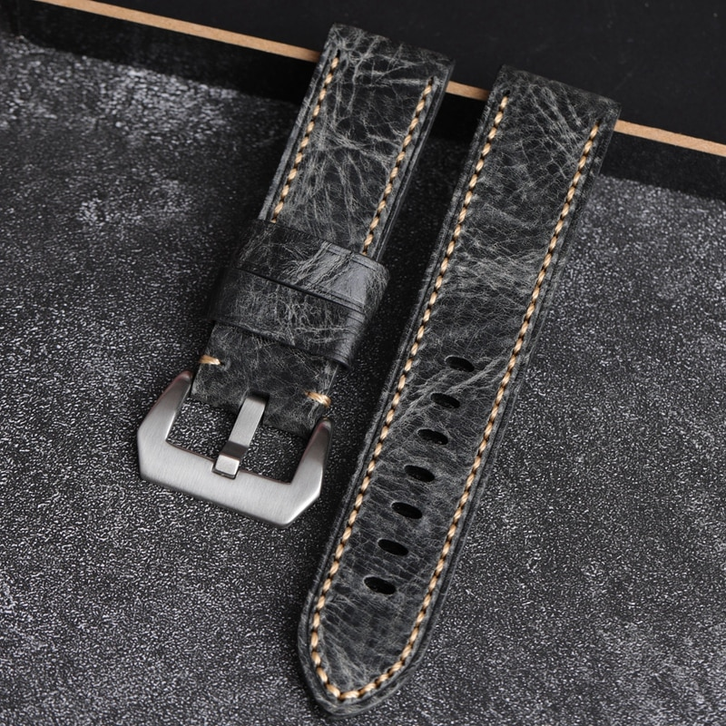 AAA Quality 24mm 26mm Smoky Dark Gray Soft Italy Genuine Leather Watchband For Panerai Big Pilot Wat