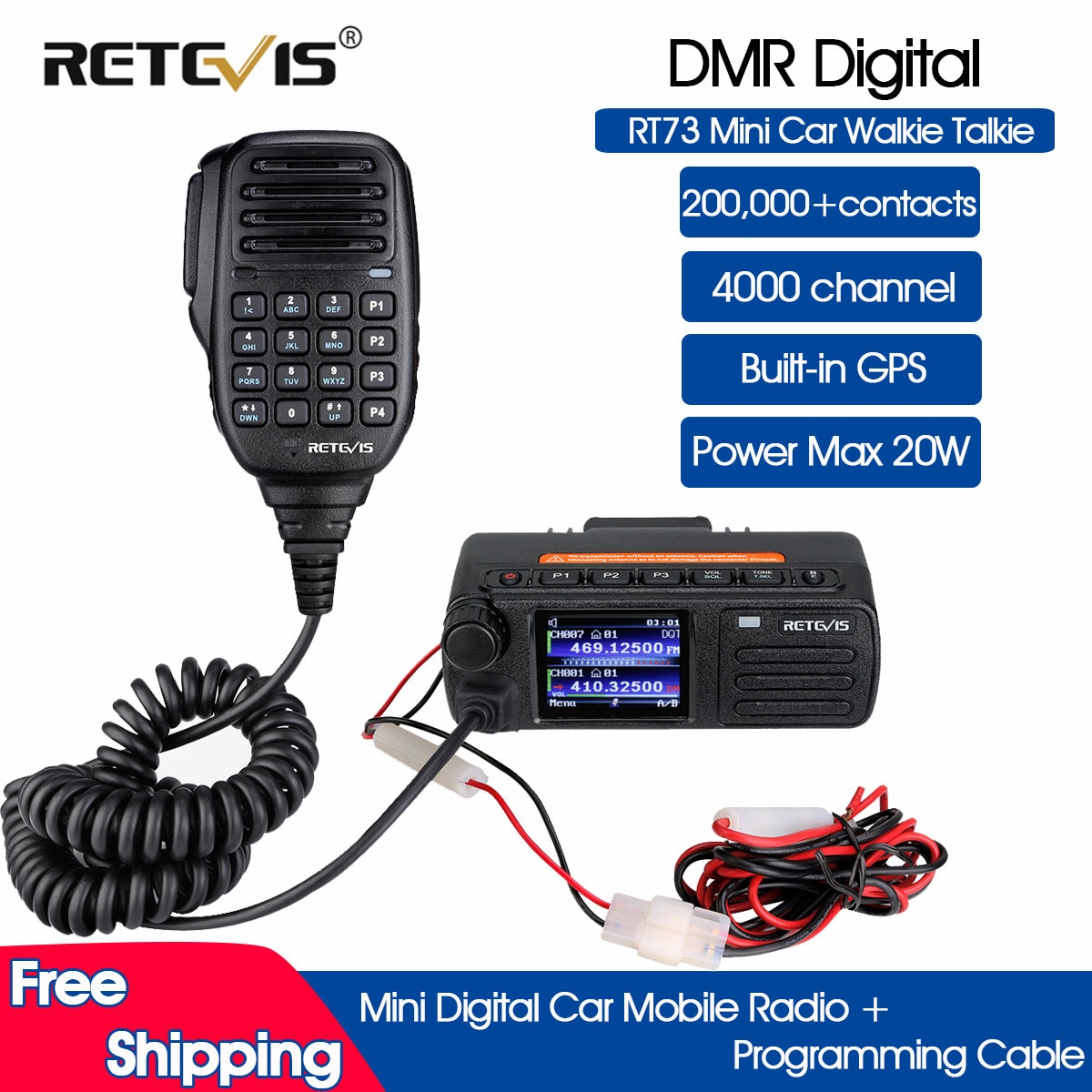 Hot Sale DMR Digital Mobile Radio Retevis RT73 Mini Digital Car Radio Station GPS UV Dual Band 20W with Hand Microphone +Cable