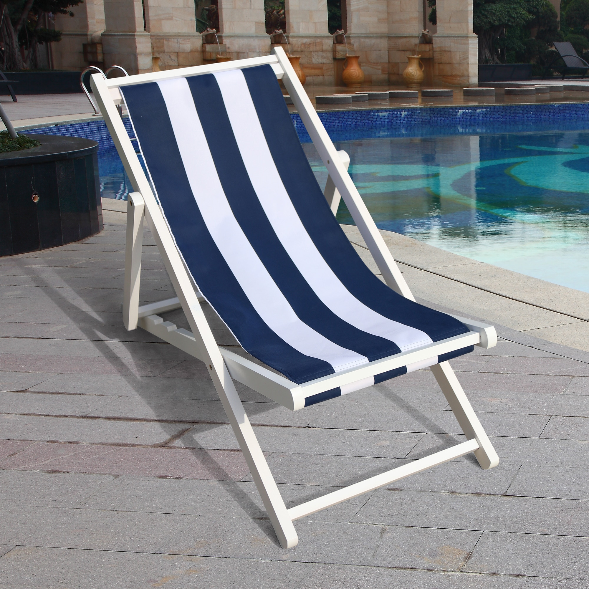 blue bar chairs furniture shop ktv music art museum teaching stools free shipping furniture retail wholesale household chair Populus Wood Sling Chair Blue Stripe Lounge Chair Chaise Desk Chair Outdoor Furniture Garden Poolside Chairs