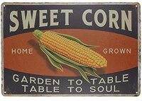 Signe retro Vintage en metal en forme de mais  en etain  pour decoration de maison  Bar  cuisine  ferme  pour cadeaux  taille 8
