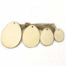 Puces de bois décoratives   50 pièces/25 pièces/10 pièces, décoration peinte en forme dœuf avec trou, décoration artisanale pour pièces de bois de bricolage
