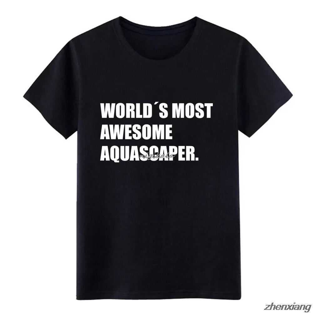 Camiseta de hombre Aquascaping Aquascape acuario regalo pescado personalizado manga corta cuello redondo ocio gráfico divertido verano Natural camisa