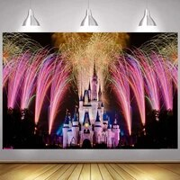 fireworks night princess castle photo backdrop girls happy new year birthday party decoration photography backgrounds banner