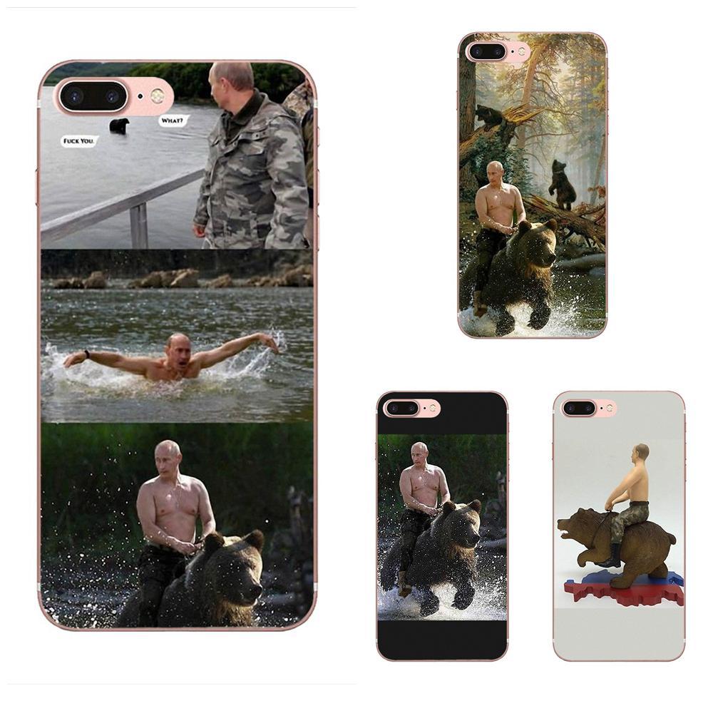 Vladimir Putin Rússia Equitação Urso Phone Case Soft Para Sony Xperia Z Z1 Z2 Z3 Z3 + Z4 Compacto z5 Plus M2 M4 XA XA1 XZ Premium
