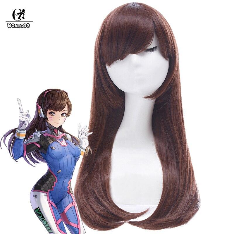 ROLECOS OW D.VA-باروكة شعر مستعار تأثيري ، لعبة على مدار الساعة ، باروكة شعر مستعار طويل 60 سنتيمتر/23.62 بوصة ، شعر صناعي للنساء