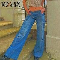 bold shade soft grunge fashion jeans high waist solid pocket boy friend style retro denim jeans y2k loose streetwear women pants