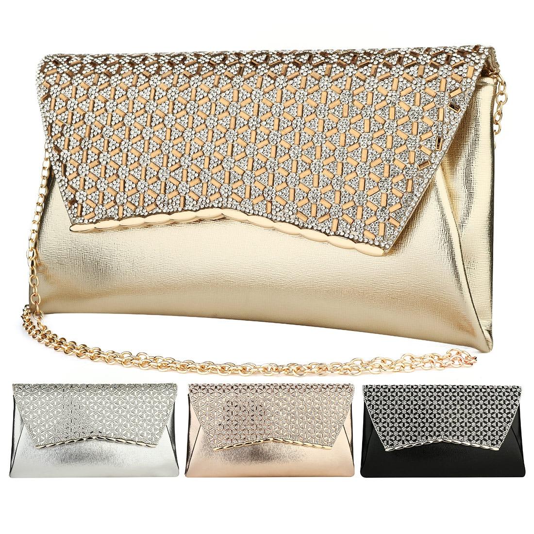 YYW الذهب حقيبة صغيرة حجر الراين الماس حقيبة مسائية مع سلسلة حقائب كروسبودي الإناث مصمم حقيبة زفاف حقيبة براثن كيس