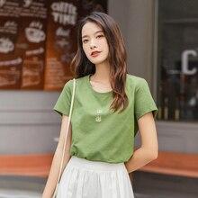 INAMN 2020 lato nowy nabytek luźny O-neck Pure Color O-neck haftowany czysty i świeży słodki T-shirt z krótkim rękawem