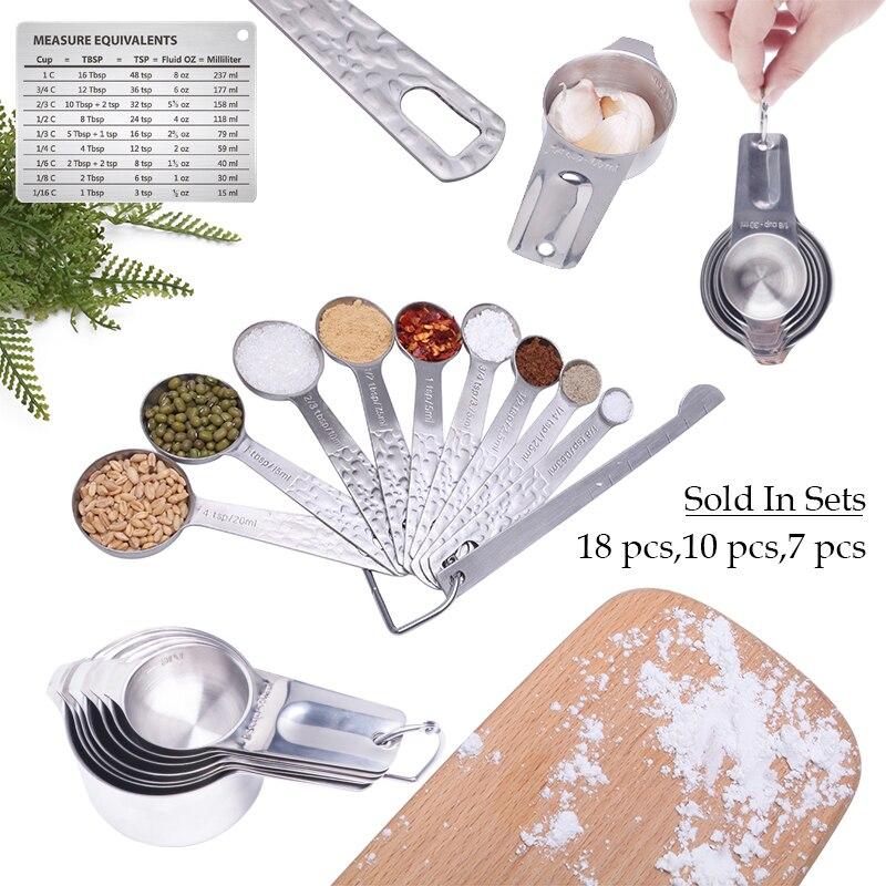 Мерная Ложка лопатка наборы 18 10 7 шт мерный стаканчик из нержавеющей стали Кофе Чай Специи мука масло мера инструменты для хранения