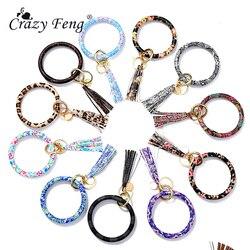 Moda leopardo couro chaveiro para mulheres meninas arco-íris cor wristlet carro o chaveiro corrente moda pulseira jóias