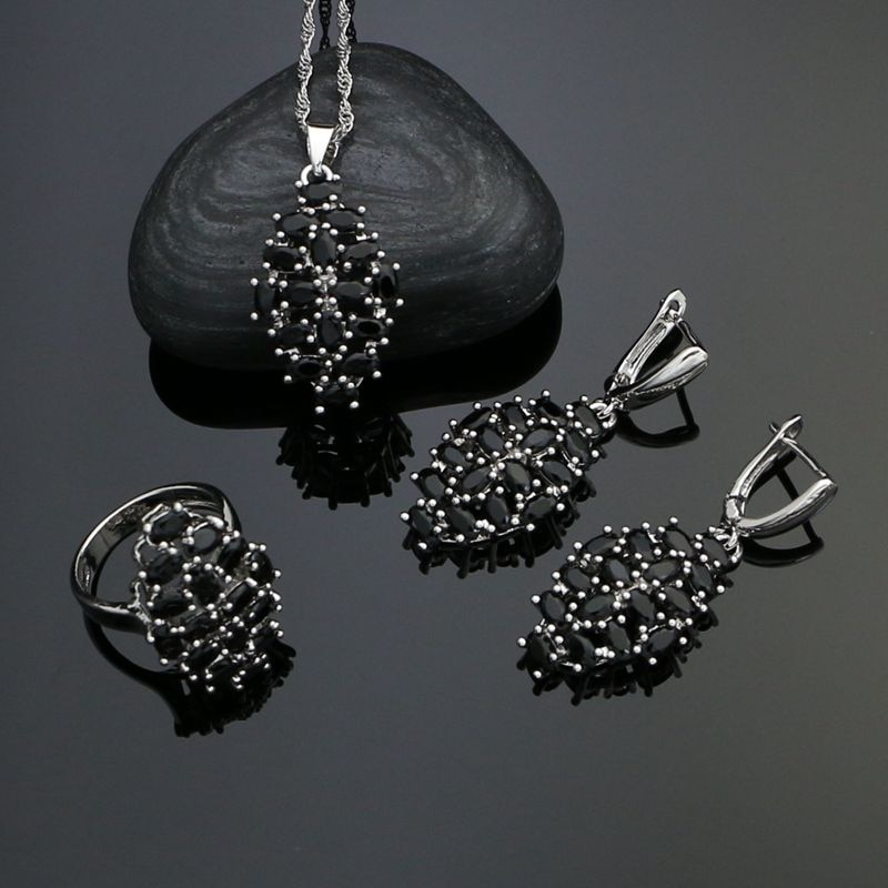 Silver 925 Jewelry Sets For Women Party Accessories Black Cubic Zirconia Earrings Ring Necklace Pendant beaqueen twinkling cubic zirconia stone lovely star earrings necklace cz crystal starfish women fashion party jewelry sets js119