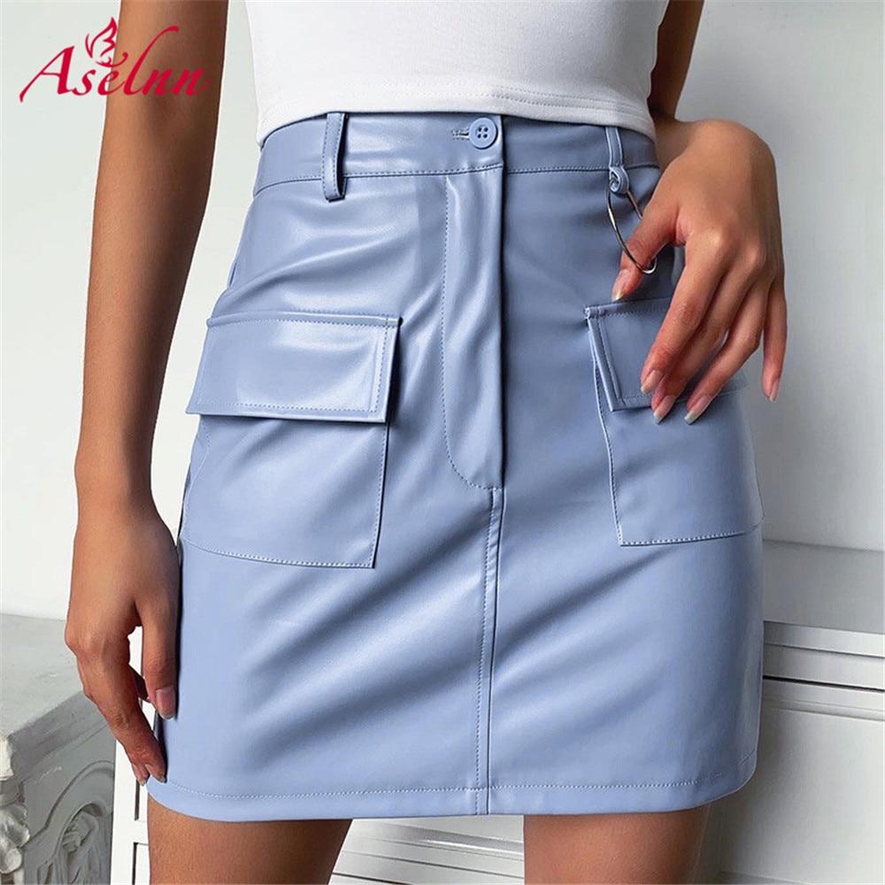 Aselnn moda saias de couro do plutônio das mulheres frente proquetes lápis azul mini escritório senhora vestir saia 2020 roupas verão para mulher