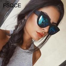 FSQCE 2021 moda donna occhiali da sole Vintage Cat Eye occhiali da sole Designer di marca retrò specchio rosa femminile occhiali da sole UV400