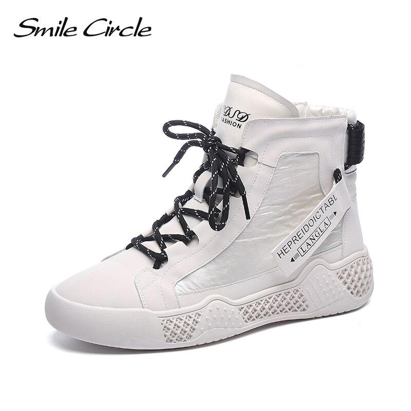 Smile-حذاء رياضي نسائي من الجلد الطبيعي ، حذاء نسائي بنعل مسطح ، مريح ، غير رسمي