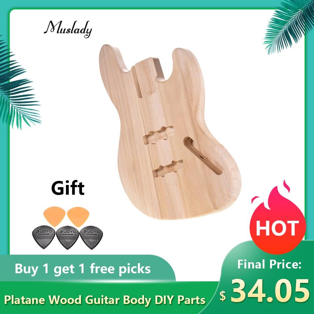 Muslady JB-T02 inacabado corpo da guitarra diy peças platane madeira em branco tambor guitarra para jb estilo baixo guitarra acessórios