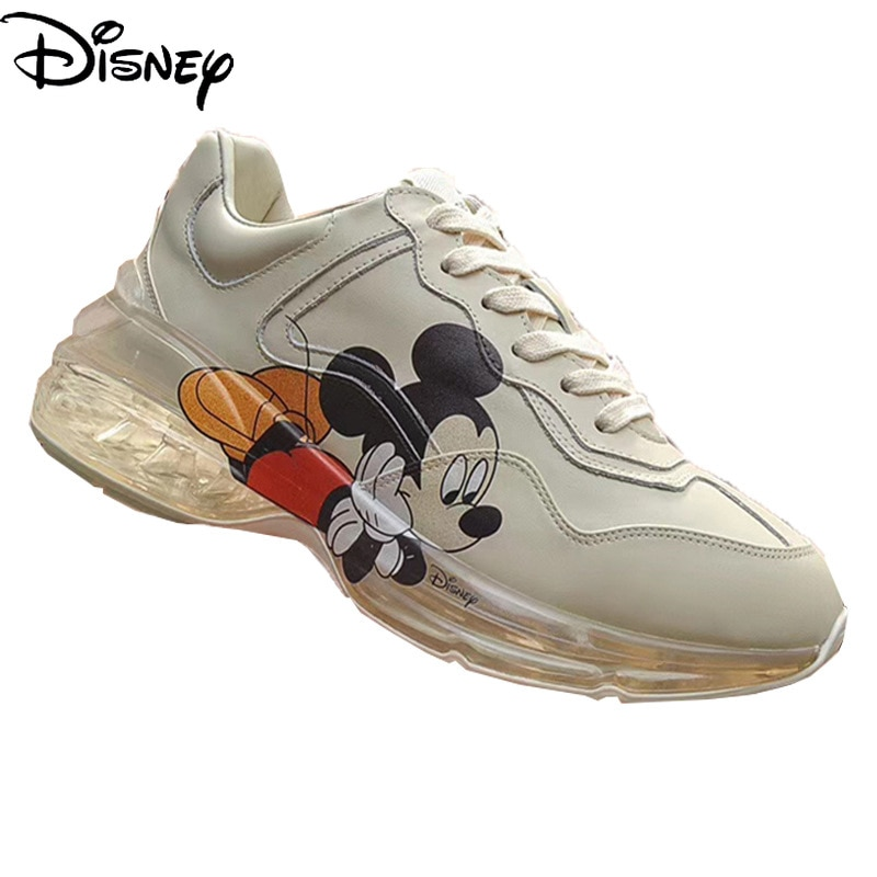 Disney 2021 New Cartoon Cute Mickey Print Old Shoes Men and Women The Same Leather Cushion Couple Casual Sneakers