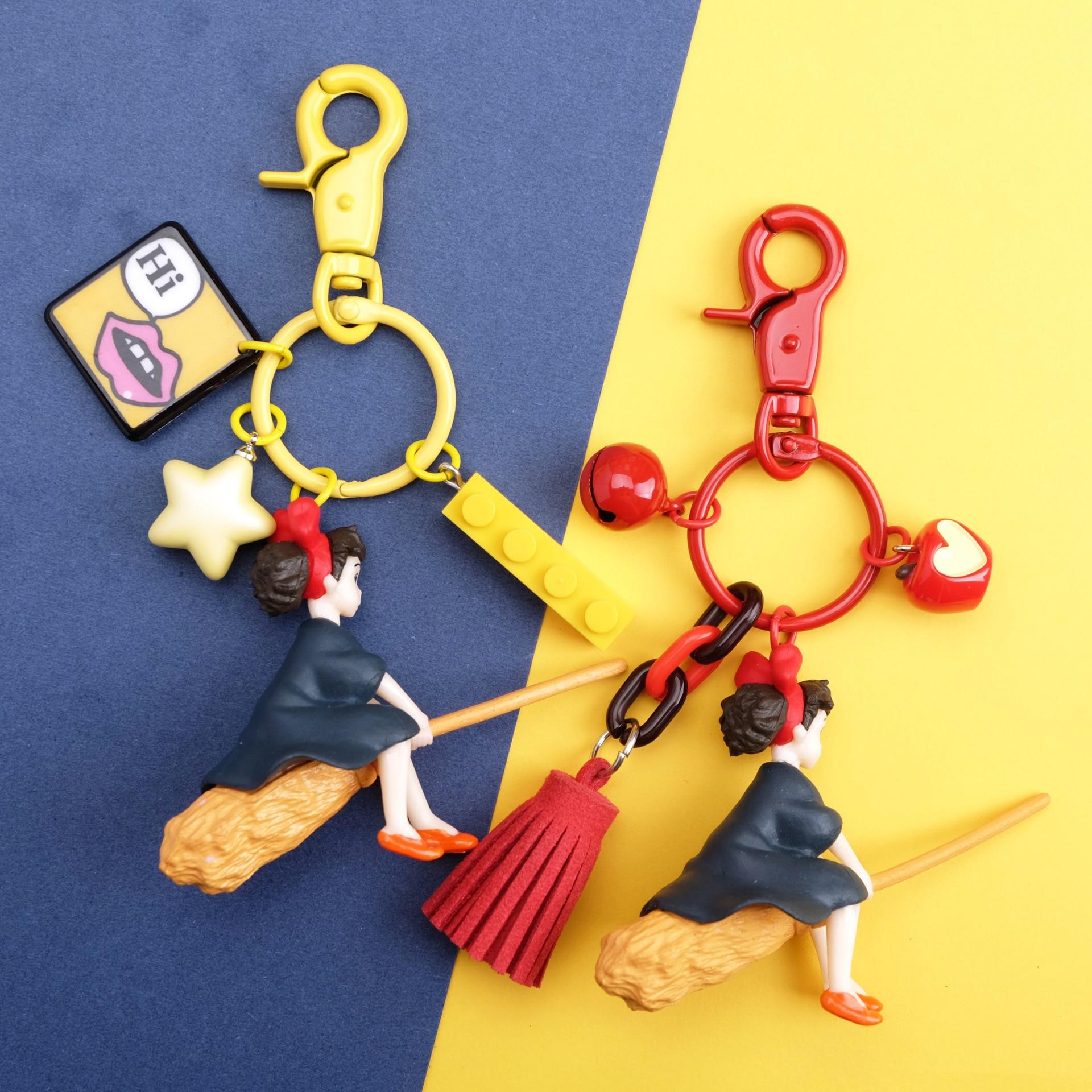 Japanese Hayao Miyazaki Cute Anime Kiki's Delivery Service Keychains Girl Kiki Figure Model PVC Doll Keyrings for Backpack Purse