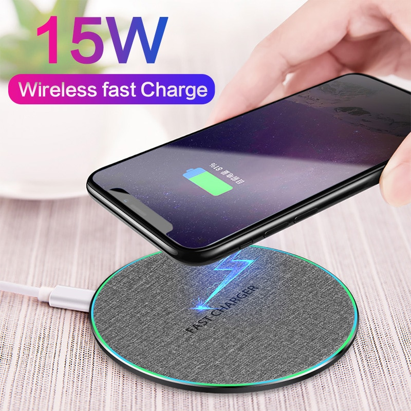 15W Qi Wireless Charger For Samsung S10 S9 S8 Note 9 Qi Fast Wireless Charging Pad For iPhone X XS XR 8 Xiaomi 9 Huawei P30 pro