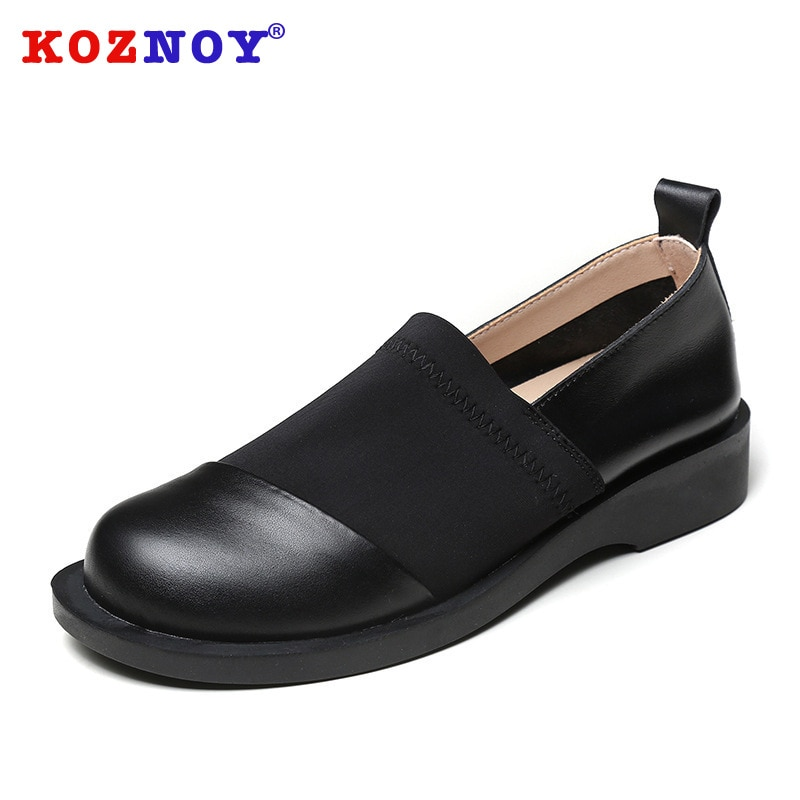 koznoy Spring Shoes Female British Style 2021 New Thick-soled College Style Casual Loafers Genuine L