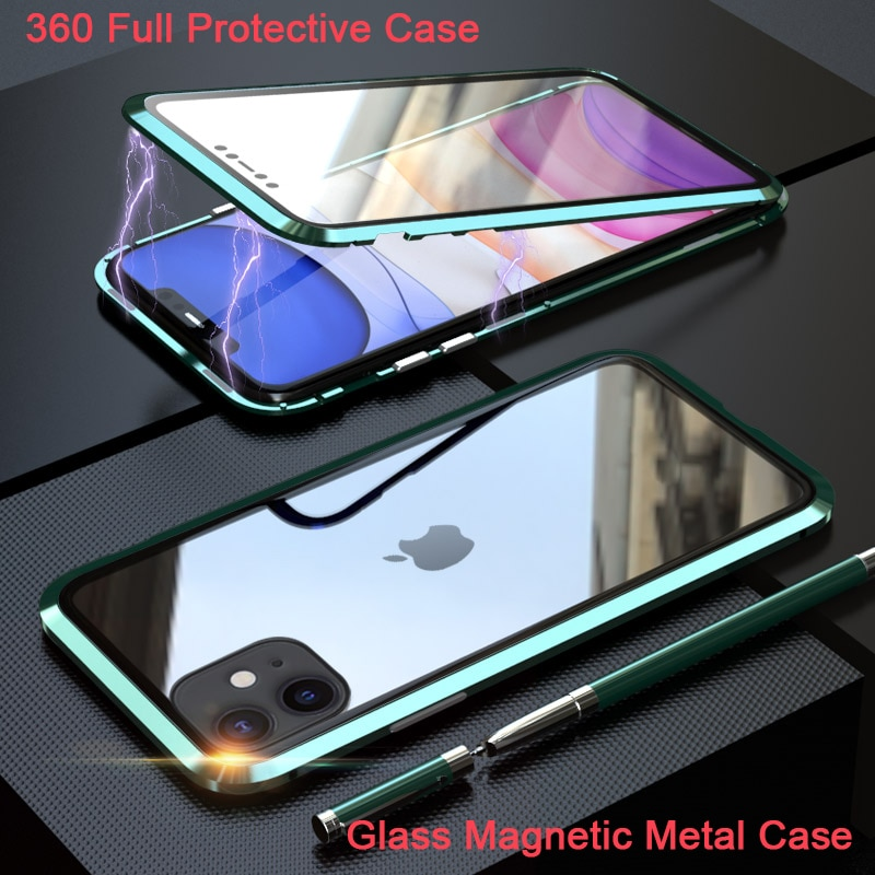 360 полная защита Магнитный чехол для iPhone XR XS MAX X 9 8 7 Plus SE 2 Чехол стеклянный чехол для iPhone 11 Pro Max чехол coque Funda