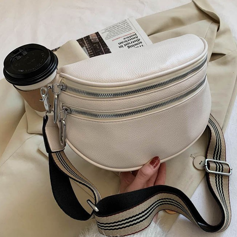Women Crossbody Fashion Shoulder Bag Wide Strap Soft Leather Female Messenger For Ladies High Quality Semicircle Saddle Bags