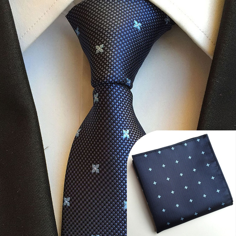 Мужской галстук и носовой платок, деловой комплект одежды для свадьбы, аксессуары, мужской галстук, носовой платок, 8 см, официальная одежда