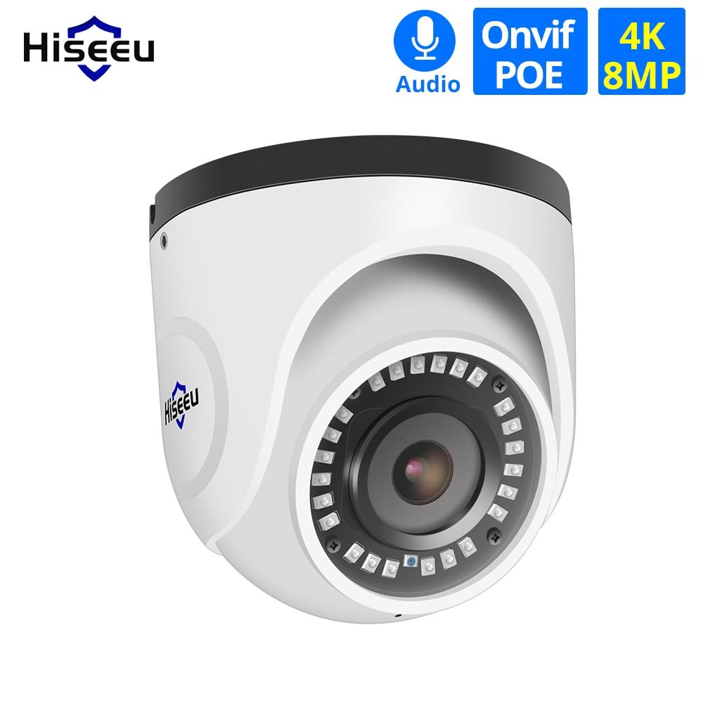 Hiseeu 4K 8MP POE IP камера купольная Водонепроницаемая Аудио CCTV цилиндрическая камера P2P Обнаружение движения ONVIF для PoE NVR 48V