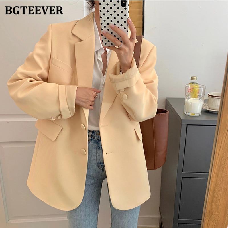BGTEEVER-جاكيت بدلة نسائي بأكمام طويلة ، ملابس خارجية ، فضفاض ، بجيوب بسيطة ، غير رسمي ، لون خالص ، ربيع 2021