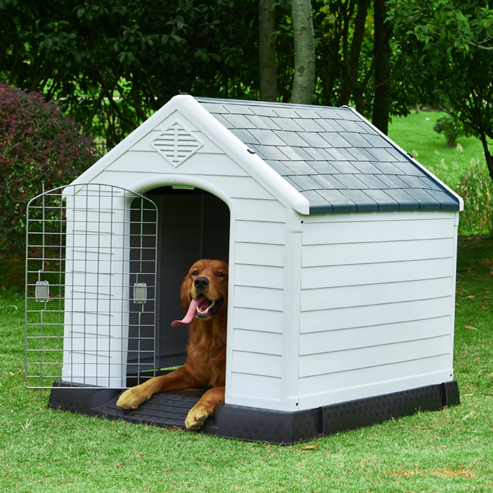 Dog House Outdoor Waterproof Plastic Dog Kennel for Small Medium Dogs with Air Vents and Elevated Floor Indoor Pet Shelter