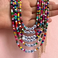 bohemian rainbow color letter beaded necklace for women letters lucky love angel choker chain colorful acrylic glass bead strand