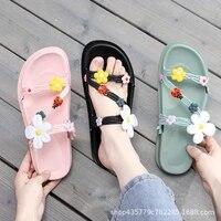 student beach sandals 2021 new outside flower summer women slippers sweet thick platform flat non slip ladies home slides casual