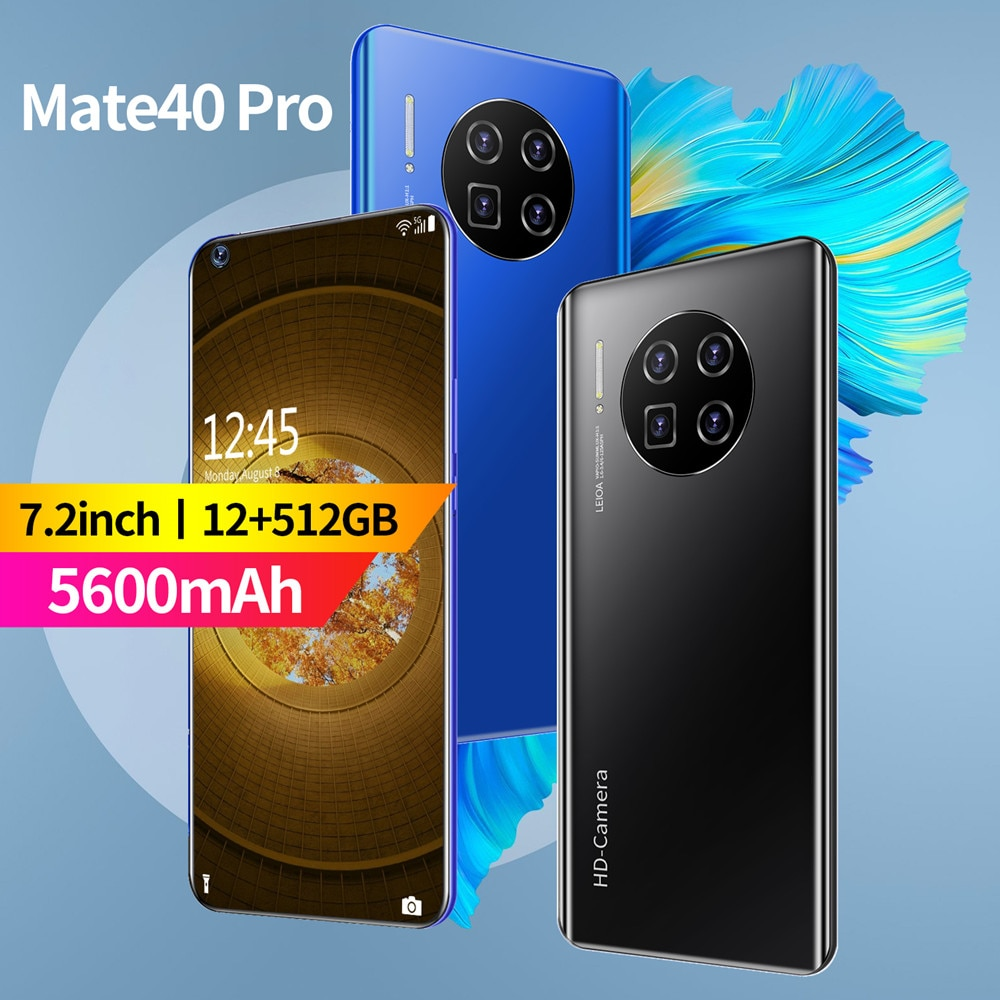Mate 40 Pro 5G Mobile Phone 7.2 inch HD Screen 5600mAh Battery 32MP Camera Global Vision 12G 512G Celulares Android Smart Phone