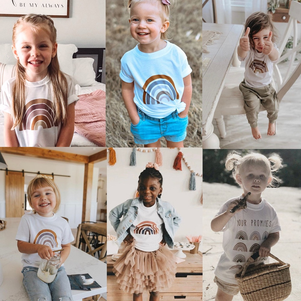 Camiseta de arcoíris para niños, camiseta de arcoíris, colores del desierto, camisetas para niñas, camisetas de Faith, camiseta de verano de manga corta arcoíris