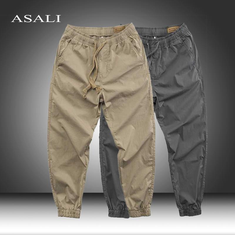 Men's Korean Style Skateboard Pants Male Breathable Casual Sweatpants Pockets Elastic Waist Slim Fit Stretch Sports Trousers