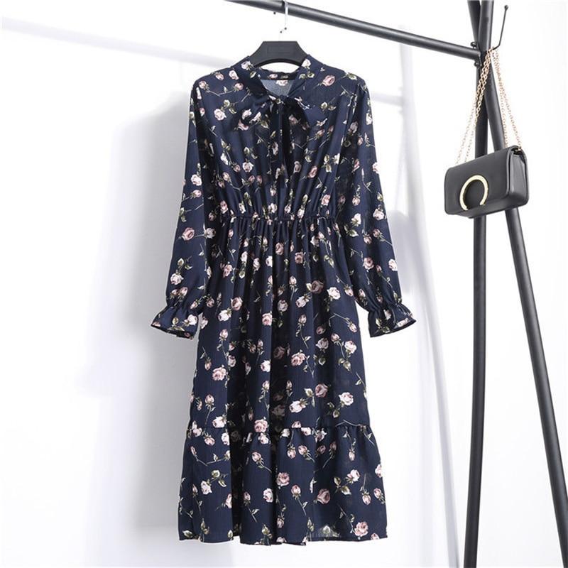 Manga larga arco Midi verano Vestido Casual otoño señora estilo coreano Vintage Floral estampado Vestido camisero de gasa Vestido