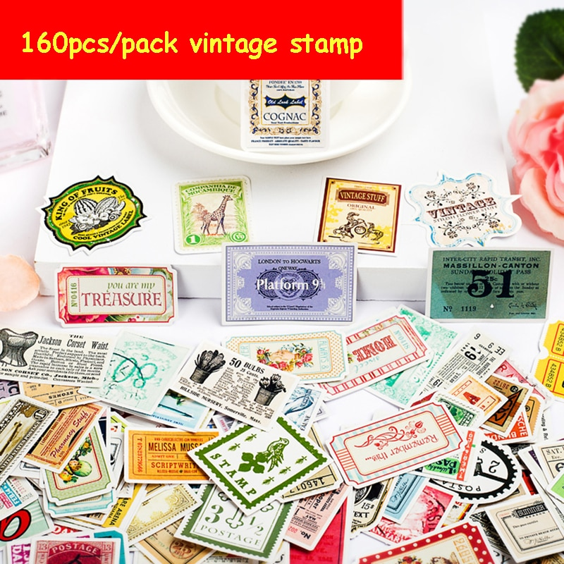 160pcs/pack Vintage Stamp Diy Diary Stickers Stationery Decoration Sticker Flakes Scrapbooking School Supplies