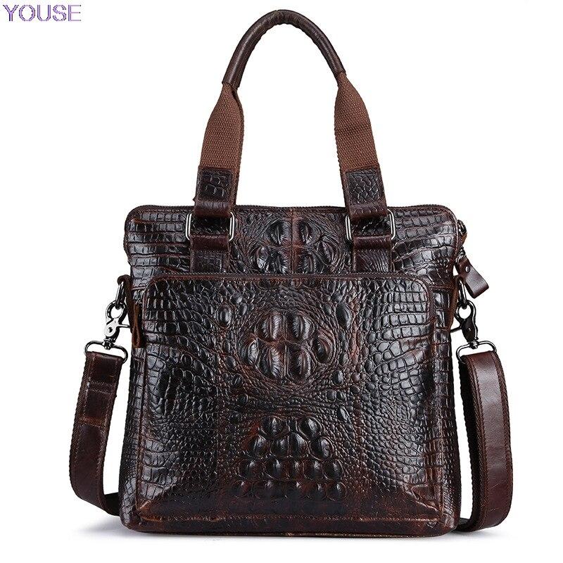 Bolso de cuero auténtico para hombre, bolso bandolera de cuero de grano completo con textura de piel de cocodrilo para hombre