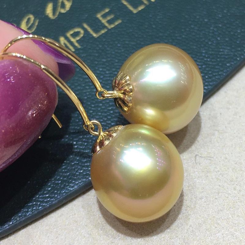 Get HENGSHENG 12-13mm Nearly Round Natural Ocean Golden Pearls Earrings Pure 18k Gold Drop Earrings Luxury Fine Jewelry For Women