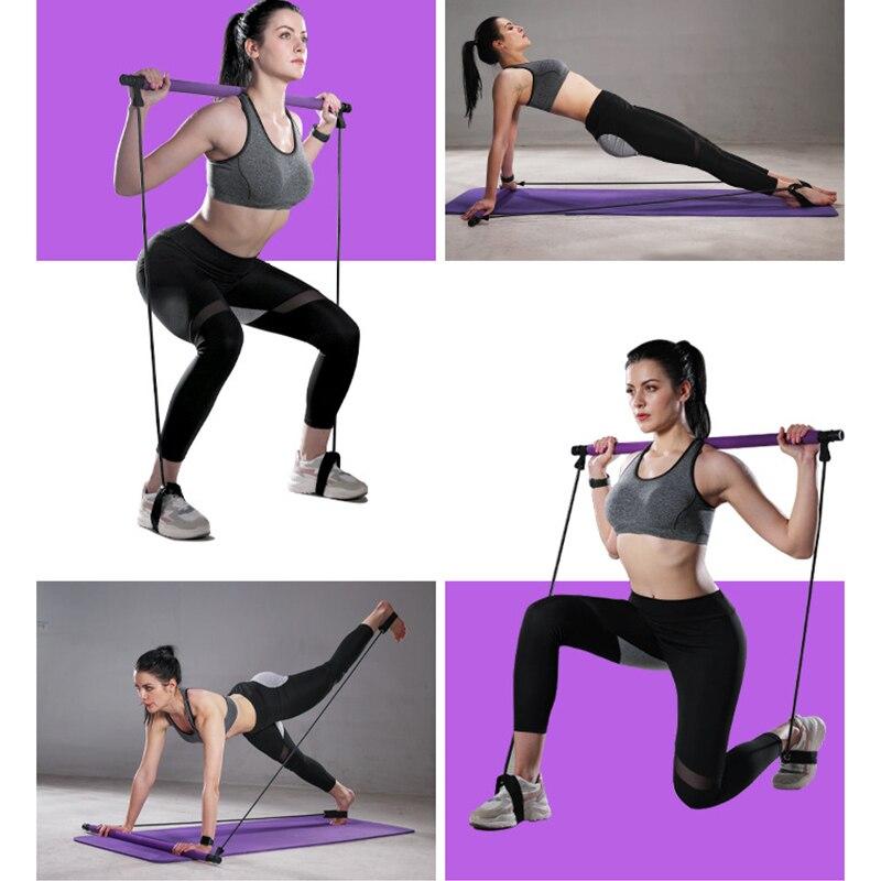 Купить с кэшбэком Portable Yoga Pilates Bar Sport Elastic Bodybuilding Resistance Bands Exercise Pilates Stick Elastic Band for Sports Home Gym