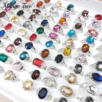 wholesale 20pcslot multicolor glass rings mixed style charm large crystal silvery band elegant women men jewellery party gifts