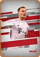 vintage look metal sign line up manuel neuer 8x12 tin plate wall decor