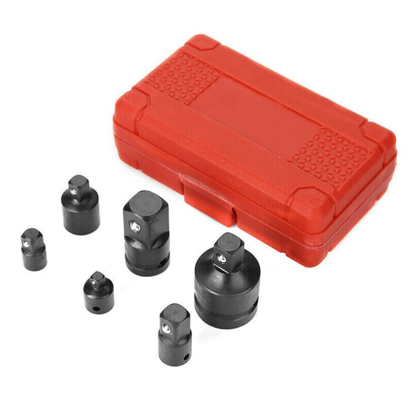 AUPORO 1/4 3/8 1/2 3/4 Inch Drive 6-Piece Female To Male Air Impact Adapter Reducer Socket Set Cr-Mo Steel Ball Detent Tapered недорого