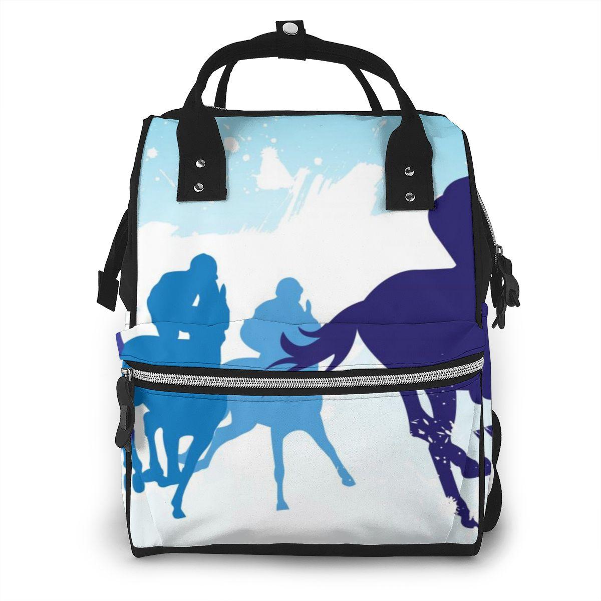 Bolsa de pañales azul para carreras de caballos y Jockeys, bolsas de maternidad para mamá, bolsas de viaje para bebé, mochila cambiante, organizador para cochecito de mujer
