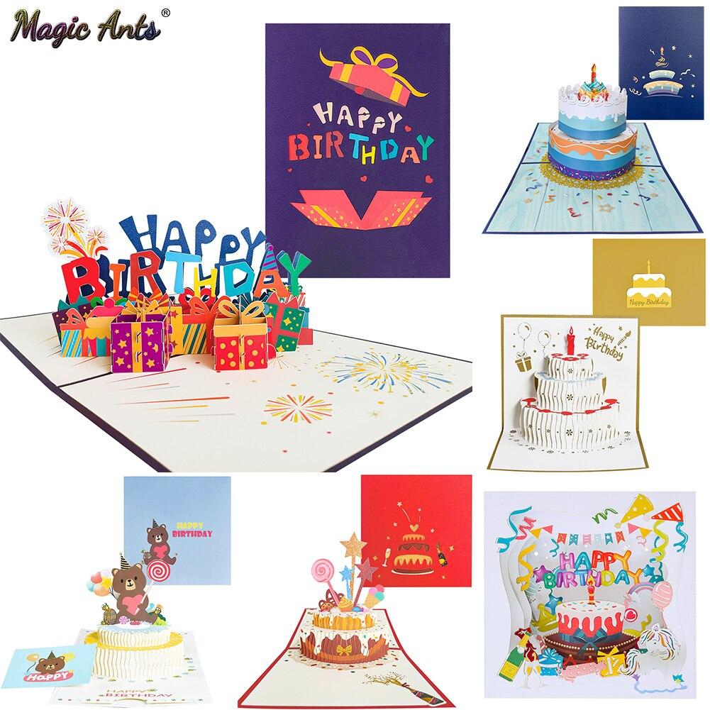 Открытка на день рождения для девочек, детей, жены, мужа, 3d открытки на день рождения, открытки с конвертом